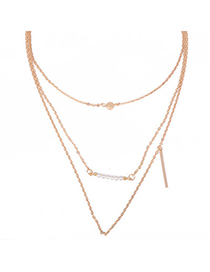 Faddish Gold Color Pearl Decorated Simple Design Alloy Korean Necklaces