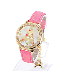 Beautiful Plum Red Diamond Decorated Eiffel Tower Pattern Design Pu Ladies Watches