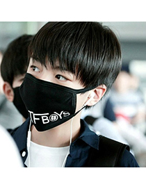 Quilted Black Letter Tfboys Decorated Simple Design Cotton Face Mask