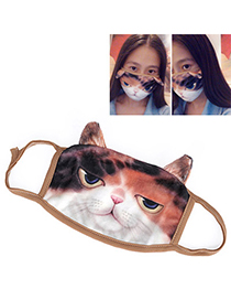 Summer White & Brown Cat Pattern Decorated Simple Design Cotton Face Mask