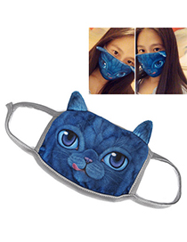Real Blue Cat Pattern Decorated Simple Design Cotton Face Mask