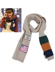 Invicta Khaki National Flag Pattern Simple Design Wool knitting Wool Scaves