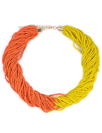 Stretch Yellow & Orange Beads Decorated Weave Design Alloy Korean Necklaces