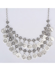 Beige Silver Color Coin Shape Decorated Double Layer Design Alloy Korean Necklaces