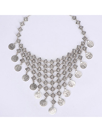 Peridot Silver Color Coin Shape Decorated Multilayer Design Alloy Fashion Necklaces