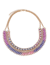 Chiropract Purple Diamond Decorated Waeve Design Alloy Korean Necklaces