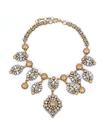 Glossy Gold Color Pearl Decorated Flower Design Alloy Fashion Necklaces