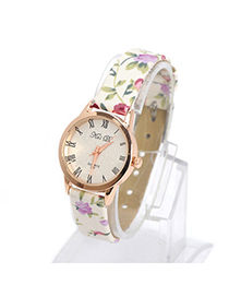 Lovable Beige Flower Pattern Simple Design Electronic Elements Ladies Watches