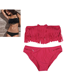 Convertibl Plum Red Pure Color Tassel Simple Design Nylon Sexy Bikini