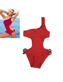 Scrapbooki Red Pure Color Siamese Simple Design Nylon Monokini