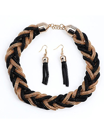 Rubber Gold Color & Black Weave Simple Design Alloy Jewelry Sets