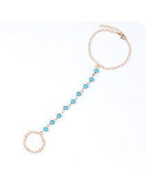Luxury Gold Color Beads Decorated Simple Design Alloy Fashion Anklets