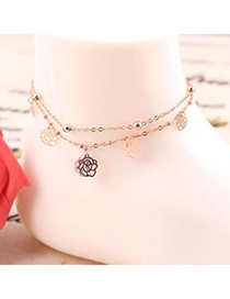 Bridesmaid Rose Gold Diamond Decorated Rose Shape Design Alloy Fashion Anklets