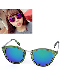 Affordable Transparent Green Round Frame Reflective Design