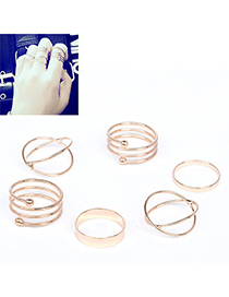 Fashion Gold Color Hollow Out Design Pure Color Simple Rings (5pcs)