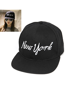 Digital Black Letter New York Pattern Simple Design Canvas Baseball Caps