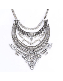 Faux Silver Color Diamond Decorated Multilayer Design Alloy Bib Necklaces
