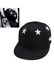 Boutique Black Embroideried Star Pattern Simple Design Canvas Baseball Caps