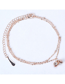 elegant Rose Gold Bell Shape Decorated Simple Design Alloy Fashion Anklets