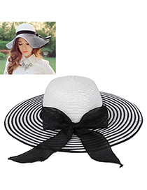 Sweet Black & White Bow-knot Shape Stripe Design Twine Sun Hats