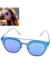 fashion Blue Irregular Frame Thin Leg Design