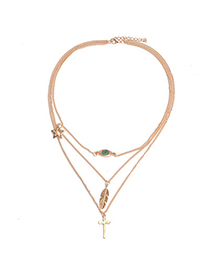 fabulous Gold Color Leaf & Cross Shape Decorated Multilayer Design