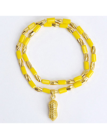 temperament Yellow Peanut Shape Decorated Doulbe Layer Design