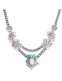 Upscale Pink & Green Gemstone Decorated Flower Design Alloy Korean Necklaces