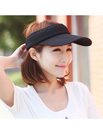 Trendy Black Pure Color Empty Top Shape Design Acrylic Fibres Sun Hats
