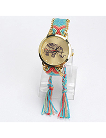 lovely Blue & Red Elephant Pattern Decorated Tasel Design Alloy Ladies Watches