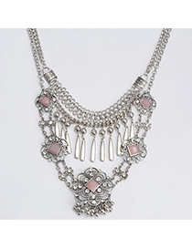 Retro Silver Color Diamond Decorated Hollow Out Flower Design Alloy Fashion Necklaces