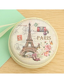 creative Color Will Be Random Eiffel Tower Pattern Round Shape Design