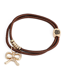 Girls Brown Bowknot Shape Pendant Double Layer Design Rubber Band Hair Band Hair Hoop