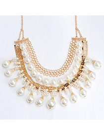 Sweet Gold Color & White Pearl Decorated Multilayer Design Alloy Bib Necklaces