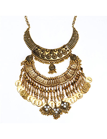 High-quality Gold Color Coin Shape Decorated Multilayer Design Alloy Fashion Necklaces