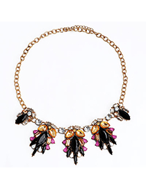 Vintage Multicolor Gemstone Decorated Leaf Shape Design Alloy Bib Necklaces