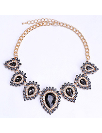 Tinsel Gray Diamond Decorated Waterdrop Shape Design Alloy Fashion Necklaces