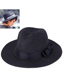 Concise Black Bowknot Shape Simple Design Paper String Sun Hats