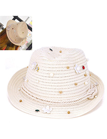 Upscale White Beads Decorated Flower Design Paper String Sun Hats