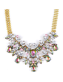 Vogue Multicolor Diamond Decorated Waterdrop Shape Design Alloy Bib Necklaces
