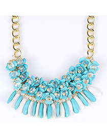 Trendy Blue Beads Decorated Flower Design Alloy Bib Necklaces