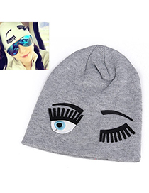Popular Gray Eyes Pattern Simple Design Cashmere Knitting Wool Hats