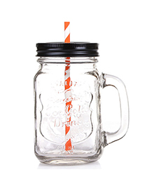 Practical Black 550ml Letter Pattern Transparent Glass Design With A Straw Glass Household Goods