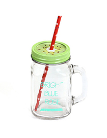 Functional Green 550ml Letter Pattern Transparent Glass Design With A Straw Glass Household goods