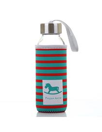 Portable Red & Green 430ml Cartoon Pattern Cloth Case Bottle Design