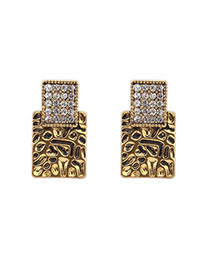 Awesome Antique Gold Sparkly Diamond Decorated Square Shape Design Alloy Stud Earrings