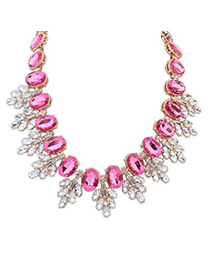Attractive Plum Red Oval Gemstone Decorated Leaf Temperament Alloy Bib Necklaces