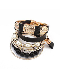 Gorgeous Black Vintage Hollow Out Metal Pearl Design Alloy Fashion Bangles