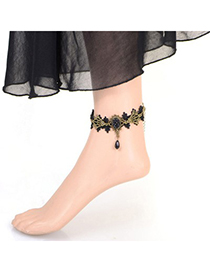 Wool black flower simple design alloy Fashion Anklets