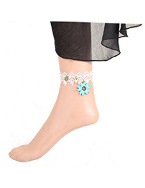 Stretch sky blue flower decorated lace design alloy Fashion Anklets
